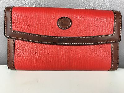 "Dooney & Bourke 7"" Tri-Fold Red Brown Wallet Checkbook AWL! COIN BACK VTG GOOD"