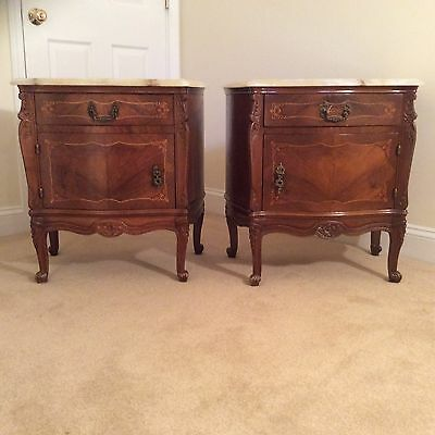 Antique pair of marble top cabinets end tables Louis XV French Italian marquetry