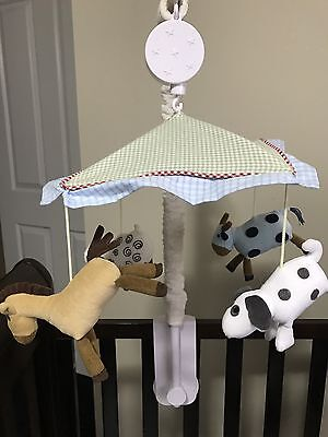 Baby mobile  For Cot Musical Turning Animals Cow Dog Sheep Horse