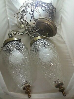 BRASS GLASS ACORN SWAG 2 Hanging Lights Antique Chandelier FREE SHIPPING