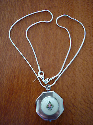 Vintage Mini Sterling Silver & Guilloche Octagonal Rouge Compact/Pendant + Chain