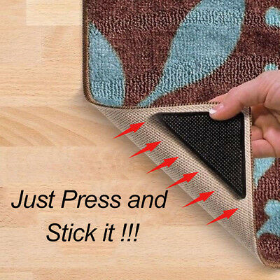 4 HOME Black Washable Carpet Mat Pad Non Slip Rug Grippers With 4 Sticky Pad