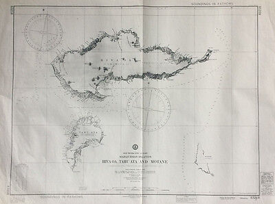 VINTAGE Navigation Chart Map MARQUESAS ISLANDS, SOUTH PACIFIC OCEAN 1917, 1964