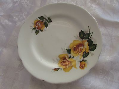 Royal Sutherland Staffordshire tea plate yellow roses15cm Made in England