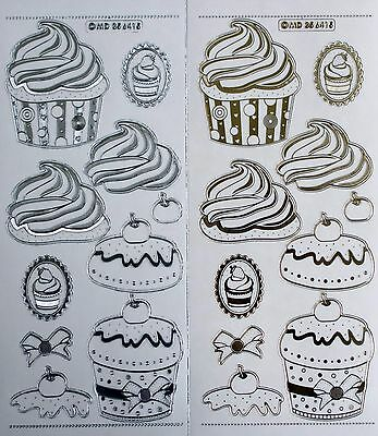 Embossed on Clear Gold or Silver 3D Party Cakes PEEL OFF STICKERS Birthday Cake