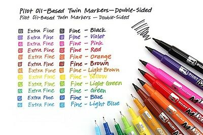 Pilot Oil-Based Twin Marker Double Sided Extra Fine Permanent Pens CHOOSE COLOR