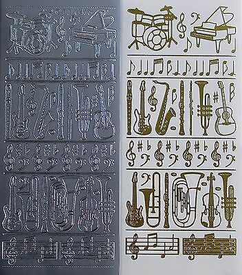 Musical Instruments Drums Piano Guitar Trombone PEEL OFF STICKERS Music Notes