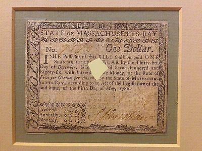 Double Framed 1780 Massachusetts-Bay Colonial Currency, One Dollar Punch Cancel