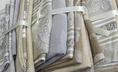 Bundle Vintage French Fabric Soft Woven Brocade Damask Ticking Beige Buff Grey