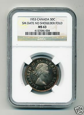 1953 Canada 50C Small Date, No Sholder Fold, Ngc Ms63 With Superb Color