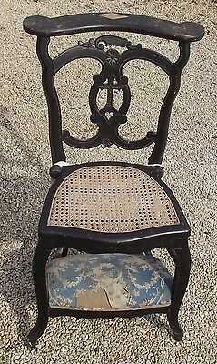 Antique Vintage French Prayer Chair Church Pivoted Rattan Seat hessian Padded