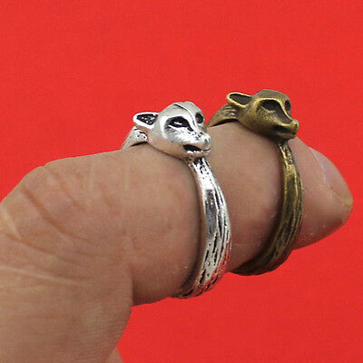 NEW Fox Silver Bronze Ring Band Wrap Rings Women Men Jewelry Vintage Fashion