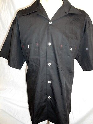 Route 66 Black Cotton Rockabilly Hot Rod Kustom Craft Short Sleeve Work Shirt XL