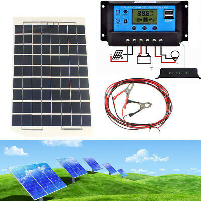 10W Solar Panel + 10/20/30A 12V/24V LCD Battery Charger Charge Regulator + USB