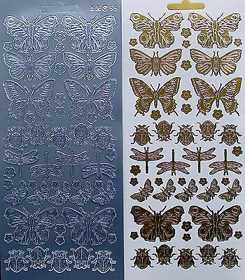 Mixed Insects LADYBIRDS Dragonflies Butterfly PEEL OFF STICKERS Butterflies