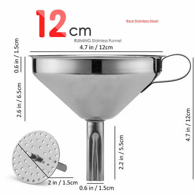 Stainless Steel Kitchen Tool 12cm Funnel With Removable Filter