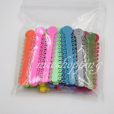 1 Bag 1008 Pcs Dental Orthodontics Elastic Ligature Ties Multi-Color Colorful