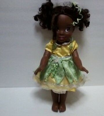 """Disney Princess Tiana Toddler 14"""" Doll African American Green Yellow Outfit 3+Yr"""
