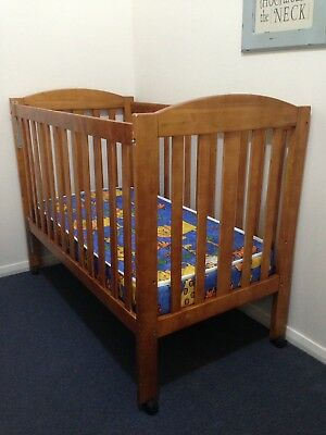 Childcare Wooden Kimberly Timber Cot + Therapedic Large Innersprung Cot Mattress