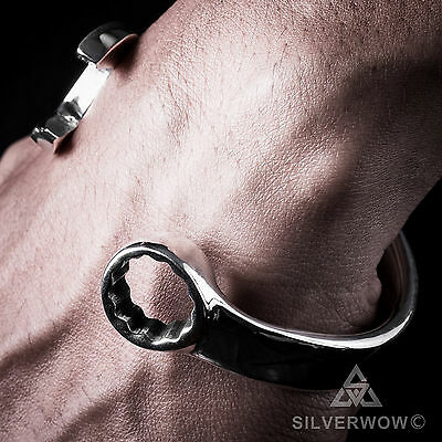 Spanner Wrench Bangle Bracelet - Super Heavy Weight Version. Solid 925 Silver