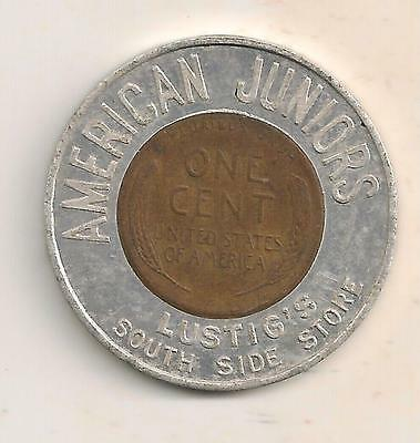 Youngstown, Oh 1958D Encased Cent, American Juniors, Lustigs South Side Store