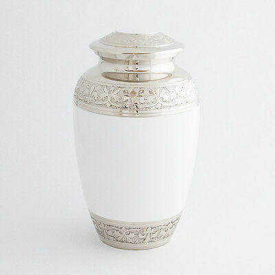 """Cremation Urn for adults - Size Large 10"""" - White/Polished Nickel border"""