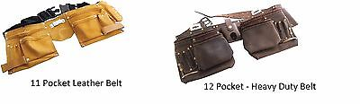 Am-Tech  Pocket Heavy Duty Genuine Leather Tool Belt Pouch- 11 or 12 pockets
