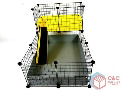 TWO TIER GUINEA PIG C&C CAGE 3x2 + LOFT + RAMP + STAND - CORREX TRAYS INCLUDED
