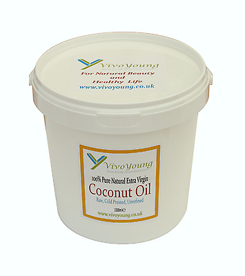 1 litre, 1000-10 ml, 100% Pure Coconut Oil, Unrefined, Extra Virgin