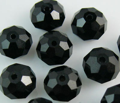 New Faceted 100pcs Black Rondelle glass crysta 4*6mm Beads DIY Jewelry