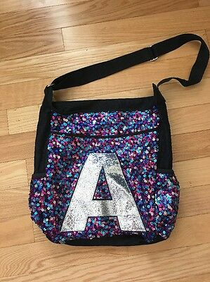 "JUSTICE ""A"" Initial Tote Messenger Book Bag Multicolored Sequin EUC!!"