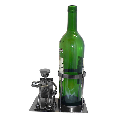 New Handmade Grey MEtal Wine Bottle Holder Car Driving 19.5 x 10.3 x 11 cm