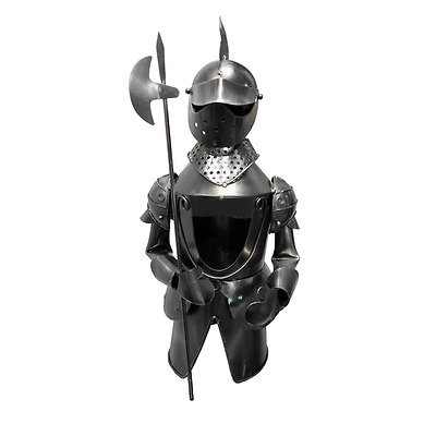 New Handmade Metal Wine Bottle Holder Knight with Battle-Axe 16 x 15.5 x 34 cm
