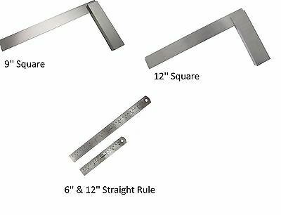 Am Tech Steel Metal Engineers Square Right Angle 90°, Straight Rule Measure Set