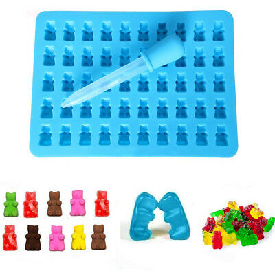 1PC Silicone 50 Cavity Gummy Bear Chocolate Candy Maker Ice Tray Jelly Mould AU