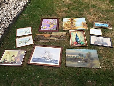13 X Pictures Antique Oil On Canvas To Vintage Prints