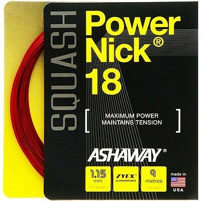 Ashaway Powernick 18 Squash String - 1.15Mm - One 9M Set - Red - Rrp £20