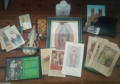 Old Vintage Estate Mixed Lot of Religious Tokens Catholic Medals Crucifix Rosary