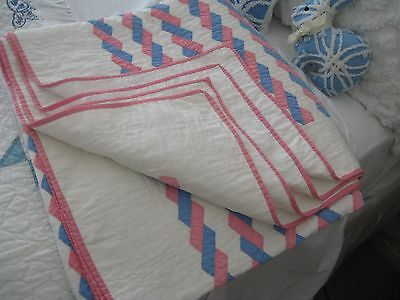 Vintage Patchwork Quilt, Twist&turn, Hardly Used,76X81,hand Pieced, All Cotton