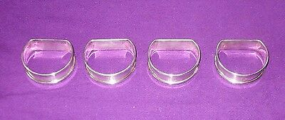 Vintage 1952 Set Of 4 Solid Sterling Silver D Shape Napkin Rings Antique
