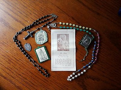 Vintage Religious Medals Rosaries Lot Catholic Medallions Vintage Relics Crosses