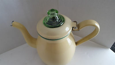 Vintage Cream & Green Coffee Percolator with Green Depression Glass Dome Lid