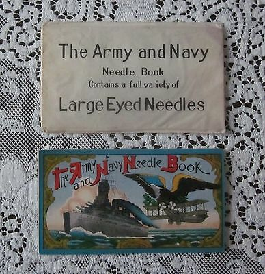 Vintage Antique Army Navy Advertising Souvenir Needle Book Sewing Japan