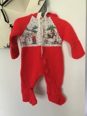Vintage Peanuts Charlie Brown Newborn Baby Fleece Snowsuit