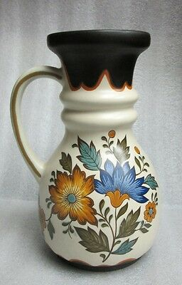 Gouda Plateel Holland Flora Handwerk Decor Ewer Pitcher Vase Jug Hooped! Vintage