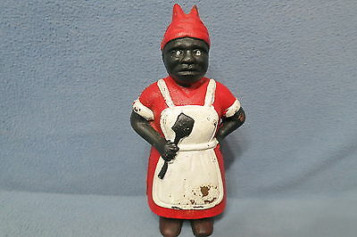 Black Americana Woman with Spatula Maid Reproduction Coin Bank Cast Iron Metal