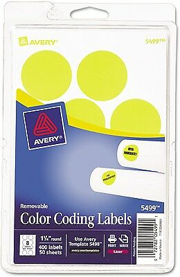 Avery Neon Yellow Removable Print Or Write Color Coding Labels For Laser 5499,