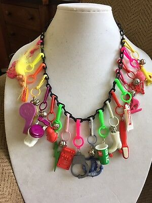 Vintage New 80's Plastic Bell Charm Necklace Retro Clip 18 Charms 1980