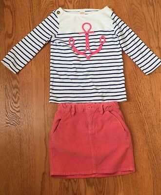 Gymboree and Gap Kids navy white anchor and pink skirt size 8 10