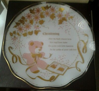 Brand New Boxed Celebrity By Fiesta Glass Pink Christening Glass Plate